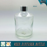 frasco de lingüeta de vidro do difusor do espaço livre do cilindro 500ml com o tampão de alumínio de prata