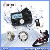 Função impermeável do sistema audio USB SD FM MP3 do pulso de disparo do LCD do alarme da motocicleta