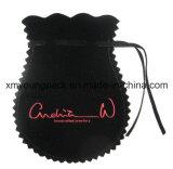Großhandelszoll gestickte kleine schwarze Samtdrawstring-Schmucksache-Geschenk-Beutel