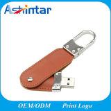 USB de cuero Pendrive de Sitck de la memoria del USB del Keyring del metal