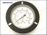 Schwarzer gewöhnlicher Gpg-013 Stahldruckanzeiger mit vorderem Flansch-/Back-Montierungs-Luft-Manometer