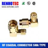 Macho coaxial adequado do adaptador do ângulo SMA ao conetor fêmea de SMA