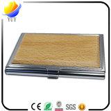 Suporte de cartão de madeira econômico do nome do negócio e suporte de cartão do crédito e caixa de cartão de madeira