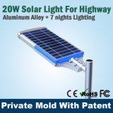 20W lampe solaire de rue élevée de la lumière DEL