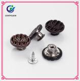 Le denim fait sur commande gravé boutonne des boutons en métal de vis