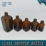 Bouteille en verre ambre carrée de vente chaude de compte-gouttes d'huile essentielle