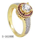 14k het goud plateerde de Echte Zilveren Ring van de Diamant van Juwelen 925