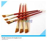 6PCS Wooden Handle Nylon Angular Hair Artist Brush für Painting und Drawing (rote Farbe)