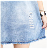 Scavare fuori Bird Appliqued Mini Crochet Denim Dress