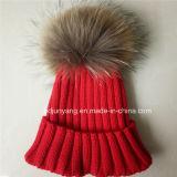 Верхней связанный конструкцией шлем зимы с шариком шерсти для оптовой продажи в низкой цене