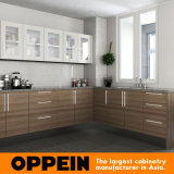 Da melamina quente do projeto de Kenya da venda de Oppein gabinetes de cozinha de madeira (OP15-M04)