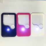 Vidro Shaped plástico relativo à promoção do Magnifier do diodo emissor de luz do cartão conhecido