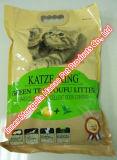 Grüner Tee-Tofu, der Katze-Sänfte aufhäuft