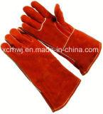 перчатки заварки Split кожи Cowhide красного цвета 35cm/40cm выровнянные, перчатки сшитой заварки Кевлар, перчатки заварки безопасности, перчатки длинней кожи работая для пользы Welder