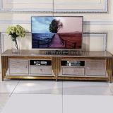 Populärster Rosen-goldener Stahlrahmen Fernsehapparat-Standplatz der Oberseite-10 mit Fächern