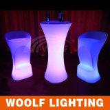 コーヒーテーブルLEDの円形の低い小テーブルの上の再充電可能なプラスチックLED照明