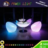 회전 주조 정원 가구 PE 물자 LED에 의하여 점화되는 테이블
