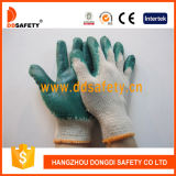 Ddsafety 2017 Nature Cotton Green Latex Coated Safety Working Glove