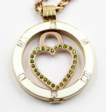 Enamel Top及びClear Stonesの簡単な35mm Rd Stainless Steel Locket