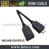 Mini HDMI tipo macho da entrega rápida de C ao cabo fêmea de HDMI