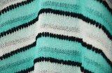Свитер нервюры V-Шеи втулки зеленого цвета повелительниц Striped короткий