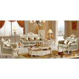 居間の家具(510D)のためにセットされる木製の革ソファー