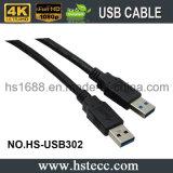 PVC noir chargeant le câble de caractéristiques d'USB 3.0