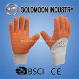 Gant orange de travail de sûreté de latex de doublure blanche lourde de coton