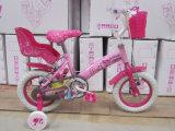 Kind-Fahrrad 2016 purpurroter schöner Mädchen mit Plastikträger