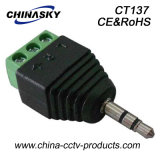 3.5mm Mono CCTV Male Stereo Connector com Screw Terminal (CT137)