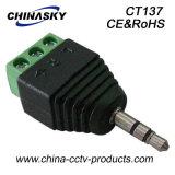 mono conector estéreo masculino del CCTV de 3.5m m con la terminal de tornillo (CT137)