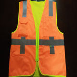 Vest van de veiligheid met het Gele en Oranje Dubbel van de Griep zag het Dragen onder ogen