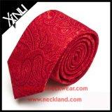 Laço vermelho tecido jacquard do Mens nos laços de seda