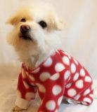 빨간 물방울 무늬 양털 개 잠옷