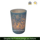 Flammenlose LED-Wachs-Kerze mit Abziehbild-Blume