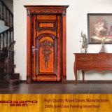 Entrée principale d'entrée de vente en gros de porte en bois solide de nature (XS2-008)