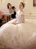 恋人のアップリケの半分の袖のチャペルのトレインのウェディングドレス(夢100090)