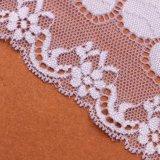 Tela elástica do laço da forma com laço branco do estiramento da boa qualidade do projeto da flor
