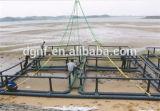 Jaulas de los pescados de la acuacultura para la piscicultura en mediterráneo