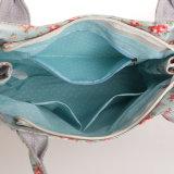 花パターン青い防水PVCジッパーのキャンバスのハンドバッグ(99089)