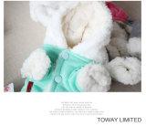 Le crabot de lapin de dessin animé vêtx les cavaliers de corail de crabot de coton de l'hiver de velours