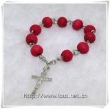 Rose perle le rosaire de rosaire de doigt et de doigt de croix (IO-CE061)