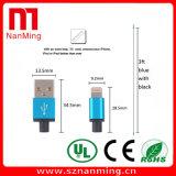 Blitz USB-Kabel, 3FT 6FT 10FT Extranylon-umsponnene große Geschwindigkeit--Schwarzes mit Blau