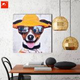 Картина маслом холстины хлопка щенка с солнечными очками