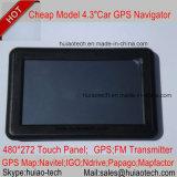 """Support intrinsèque Bluetooth, ISDB-T d'instantané du RAM 128MB 8GB d'usine de la vente 4.3 """" de véhicule de navigateur bon marché de Portablet Satnavi GPS ; Poids du commerce-dans pour l'appareil-photo arrière de stationnement ; Navigation de GPS"""