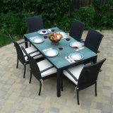 Im Freiengarten-Patio-Möbel, die Balkon-Rattan-Aluminiumstuhl und Tisch-Set speisen