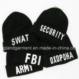 Chapeau noir tricoté acrylique chaud de broderie blanche militaire de garantie