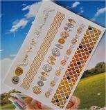 Etiqueta engomada temporal del tatuaje del arte de la etiqueta engomada del tatuaje de la plata de moda del oro