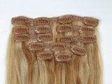 毛の拡張膚触りがよくまっすぐな18inchesクリップのブラウンカラー