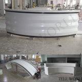 Bureau de réception de marbre extérieur solide incurvé blanc fait sur commande de modèle moderne pour l'hôpital dentaire de clinique de côté
